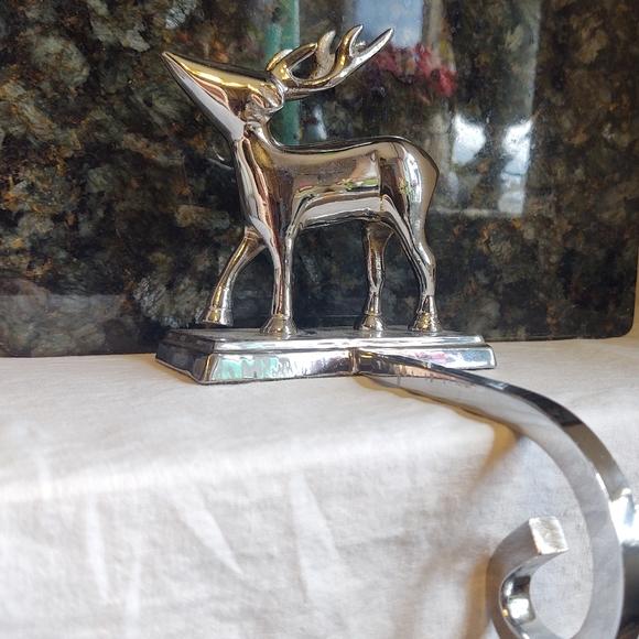 Vintage reindeer stocking holder silver Chrome